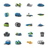 Car icons vector set. Vector set with realistic style icons for car services on isolated white background Royalty Free Stock Photos