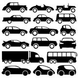Car icons on white. Royalty Free Stock Photo