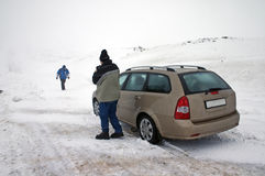 Car on icy road. Car on icy snow conditions Royalty Free Stock Image