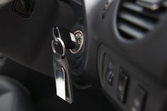 Car Ignition With Key Stock Photo