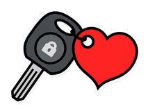 Car ignition key with an attached heart tag Royalty Free Stock Photography