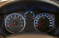 Car illuminated dashboard Stock Photography