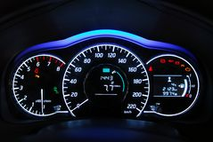 Car illuminated dashboard Royalty Free Stock Photography