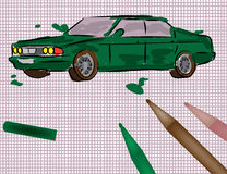 Car illustration. Vector illustration of a kid painted car Stock Photo