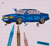 Car illustration. Vector illustration of a kid painted car Royalty Free Stock Images