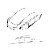 Car image. Car design, minimalistic monochrome sketch Stock Photo