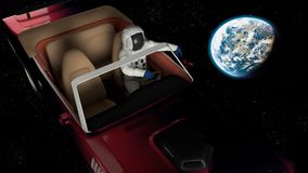 The car in space Stock Image
