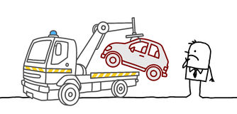 Car impounded. Hand drawn cartoon characters Stock Image