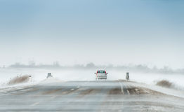 Car In A Blizzard Stock Image