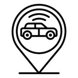 Car In Geo Tag Icon, Outline Style Stock Images