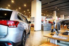 Free Car In Showroom Of Dealership Mitsubishi In Kazan In 2018 Royalty Free Stock Photos - 130829788