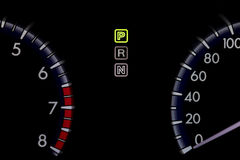 Car indicator in black tone to show light of texts and number. Royalty Free Stock Image