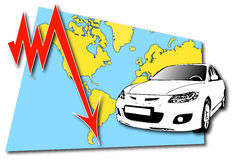 Car industry crisis. Crisis in car industry collage with world map vector illustration