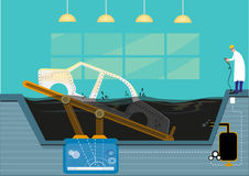 A Car Industry Painting Pool facility. vector and jpg. A factory worker dips a body of an automobile using a button that shows a diagram of its mechanical parts stock illustration