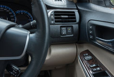 Car inerior console. Car interior console beside driver Royalty Free Stock Photo