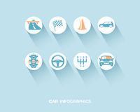 Car infographic with flat icons set Stock Images