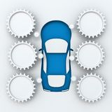 Car infographics with copyspace, 3d render Stock Photography