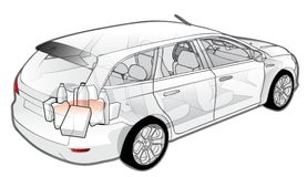 Car infographics cutaway. Available EPS-10 separated by groups and layers for easy edit Stock Photo