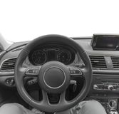 Car inside driver place, Interior of prestige modern car, steering wheel. And dashboard isolated Royalty Free Stock Images