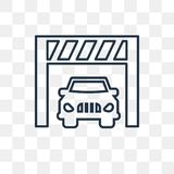 Car inside a garage vector icon isolated on transparent backgrou royalty free illustration