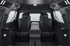 Car inside seats. Car inside black leather comfort seats. 3D rendering Royalty Free Stock Photography
