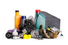 Car inspection, spare parts, car accessories, air filters, brake disc, car parts stock image