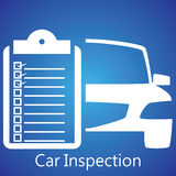 Car Inspection. White car icon and message boards check the car with a check mark in the box, that's normal Royalty Free Stock Images