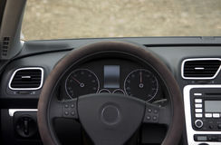 Car Instrument Cluster. Speedometer and tachometer of sports car Stock Image