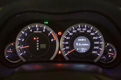 Car instrument panel. Illuminated in the night Royalty Free Stock Image