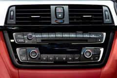 Car instrument panel console and stereo radio with air condition Royalty Free Stock Photography