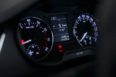 Dashboard car with a beautiful white light stock image