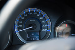 Car instrument panel dashboard automobile control illuminated panel speed display, close up and shallow depth of field Royalty Free Stock Images
