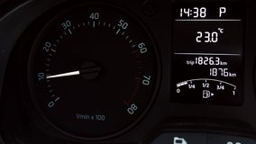 Car instrument panel, showing rpm and high speed stock video footage