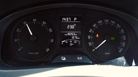 Car instrument panel, showing rpm and high speed stock footage