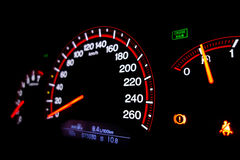 Car instruments panel. Dashboard of a modern car with speedometer Stock Photos