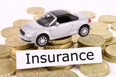 Car Insurance. A general metaphor for car insurance, finance, sale, debt, expenses and costs Royalty Free Stock Images