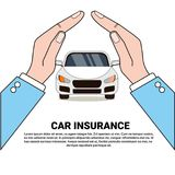 Car Insurance Banner Safety Protection Concept With Hands Protect Vehicle Icon. Vector Illustration Stock Images