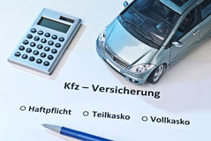 Car insurance Stock Photography
