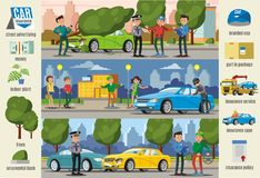 Car Insurance Cases Infographic Horizontal Banners Stock Images