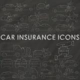Car insurance on chalk vector illustration