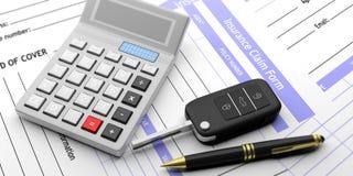 Car insurance claim form and calculator. 3d illustration. Car key and calculator on insurance claim form background. 3d illustration Stock Photo