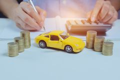 Car insurance with coins and car services concept. Business. Concept. Car insurance concept Stock Images