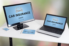 Car insurance concept on different devices Stock Photos