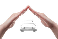 Car insurance concept using protective hands Stock Photos