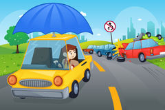Car insurance concept. A vector illustration of cars in an accident for car insurance concept stock illustration