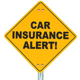 Car insurance concept. Yellow road sign warning about expiring policy Royalty Free Stock Photos