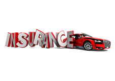 Car Insurance. 3D render image of insurance word hitting a car representing car insurance Stock Photography