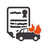 Car insurance document design. Car fire insurance seal stamp protection security accident icon. Flat and Isolated design. Vector illustration Stock Image