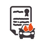 Car insurance document design. Car fire insurance seal stamp protection security accident icon. Flat and Isolated design. Vector illustration Stock Photo
