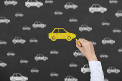 Car Insurance Drawing on Blackboard Stock Photography